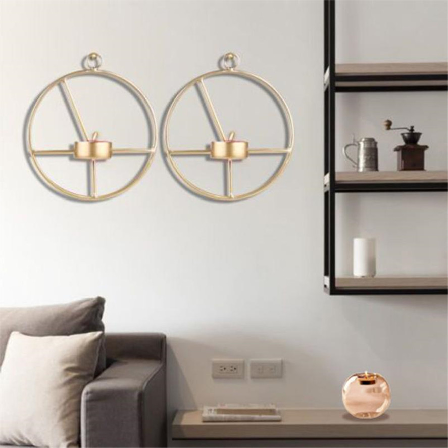 New 1pc Gold Nordic Style Geometric Candlestick Metal Wall