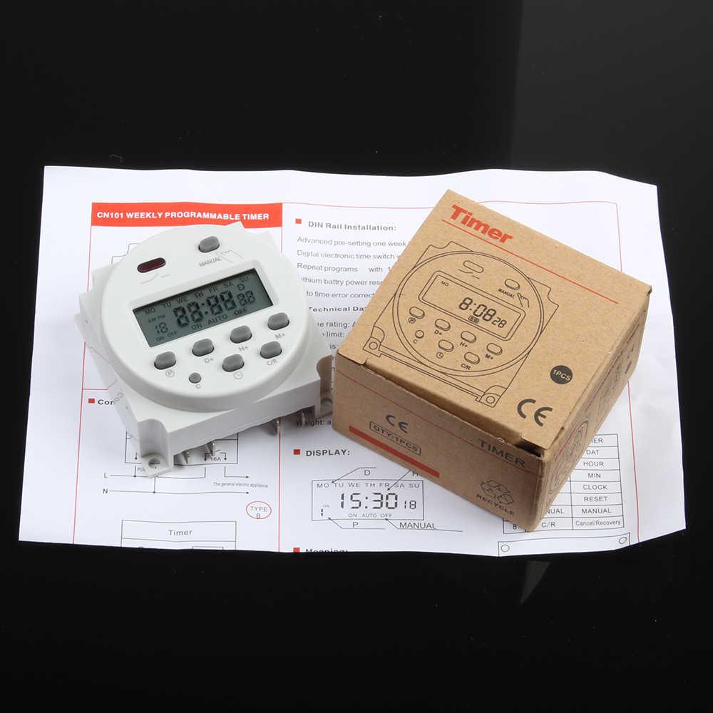 Sin bloqueo CN101A CA cc 12V redondo Digital LCD temporizador de potencia semanal programable interruptor de relé de tiempo electrónico 8A a 16A CN101 semanalmente