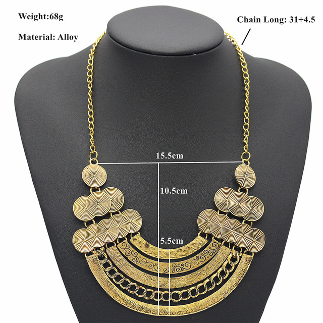 Olaru Vinatge 2 Colors Metal Coin Choker Necklace For Woman