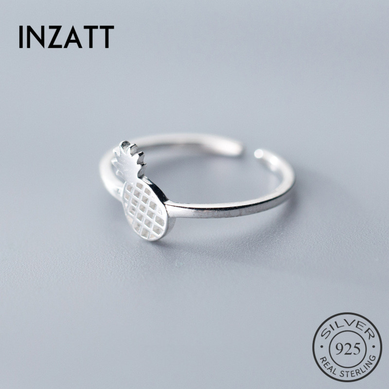 INZATT Real 925 Sterling Silver Minimalist Hollow Pineapple Opening Ring For Women Fruit Party Fine Jewelry Punk Accessories