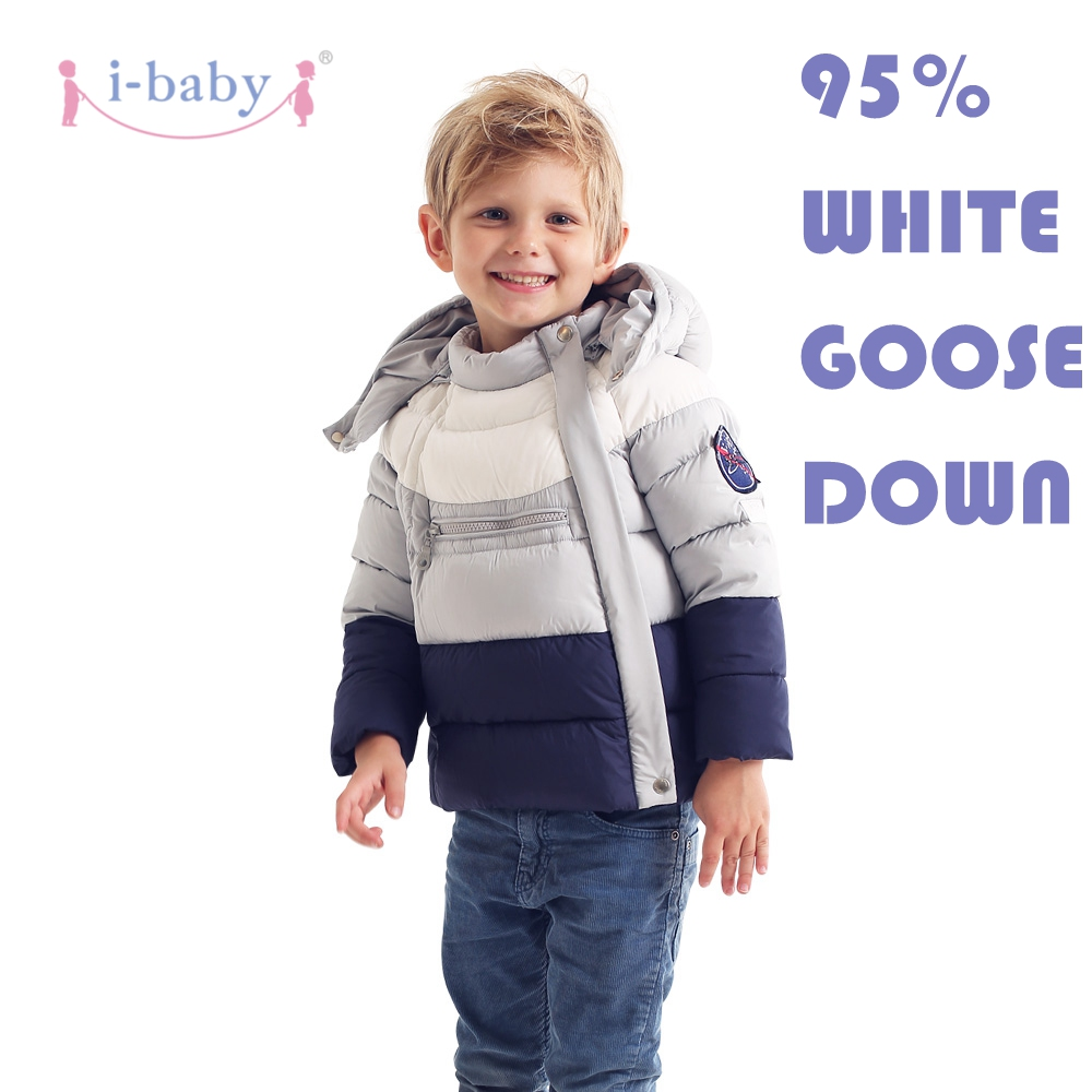 i-baby Down Coat Outlast Kids Patchwork Outwear Hooded Baby Cozy Puffer Jacket with double Layers Filling for Winter