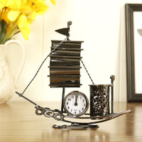 Creative Metal Crafts Sailboat Model Clock Pen Holder Multi Functional Decoration Student Gifts Study Decor