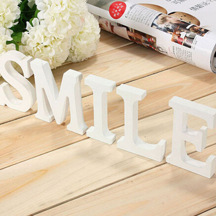 New White Wood Letters Smile Wooden Crafts Decoration 8cmx1cm