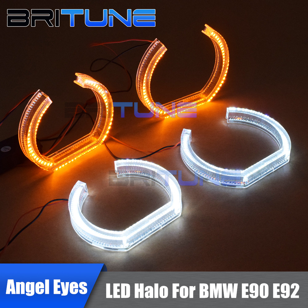 Daytime Running Lights White Yellow Turn Signal Crystal LED Angel Eyes For BMW E90 E92 Cars Headlight Retrofitting 105mm/120mm