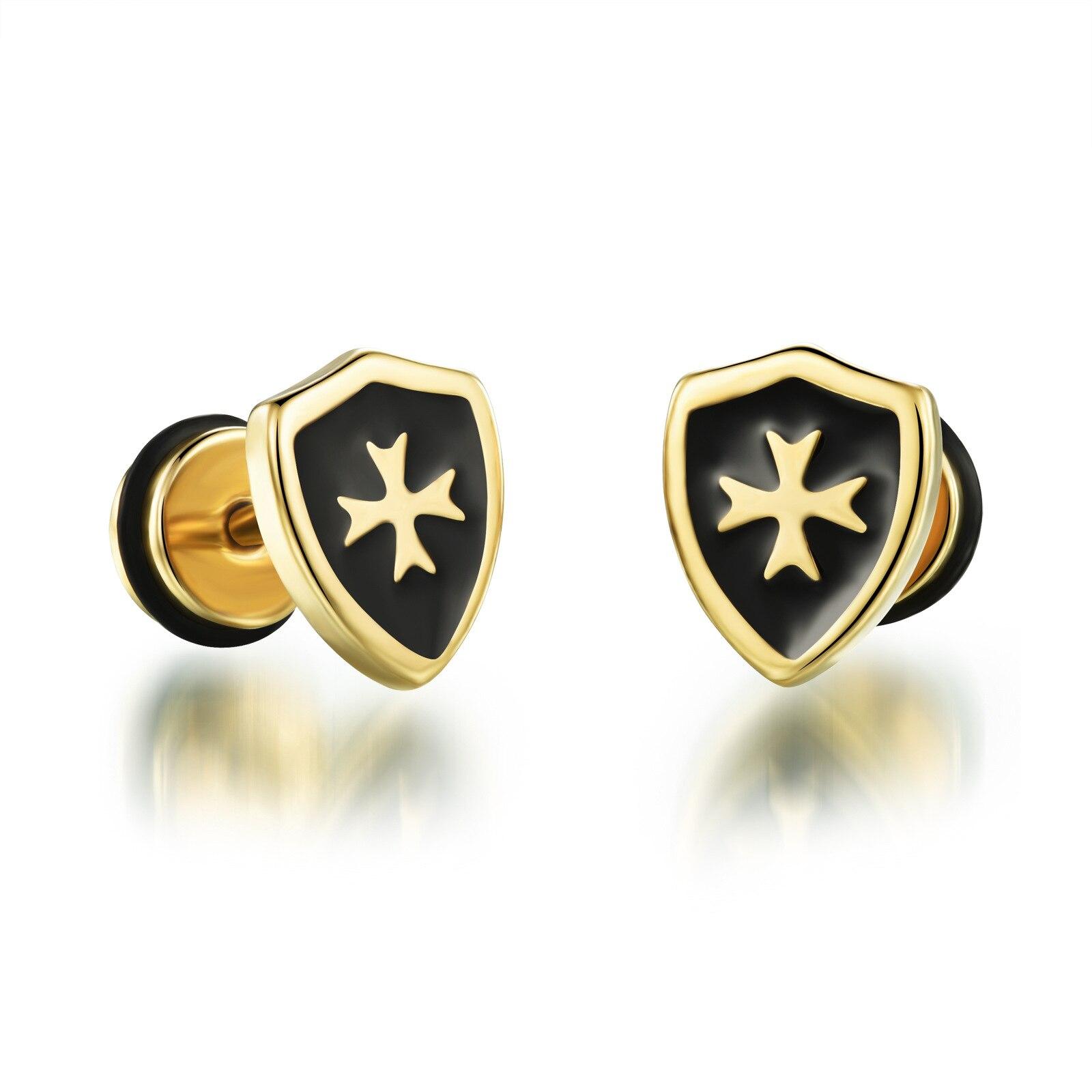 Samll Cool Man Cross Stud Earrings For Men Punk Style Gold Ptelad Stainless  Steel Earring Fashion