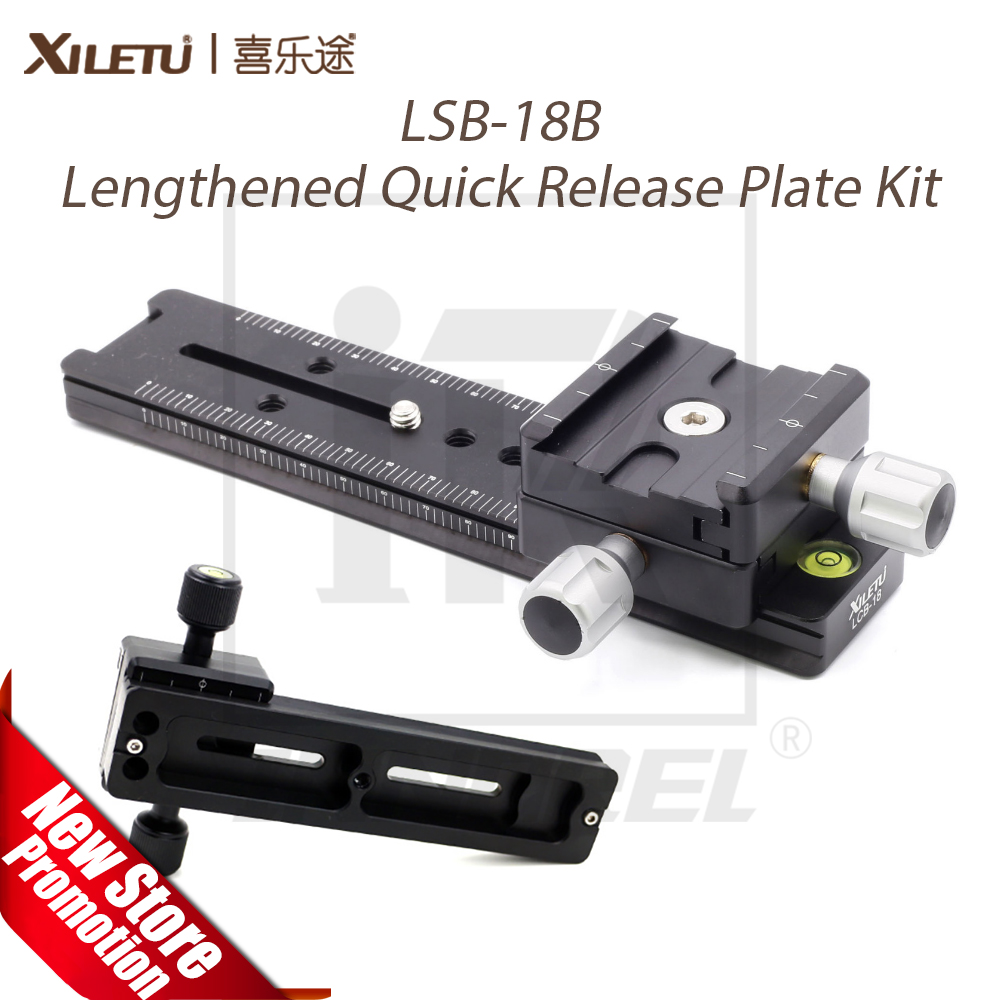 XILETU LSB-18B Aluminum Alloy Lengthened Quick Release Plate Kit 180mm Nodal Slide Tripod Rail Universal Photography Accessory