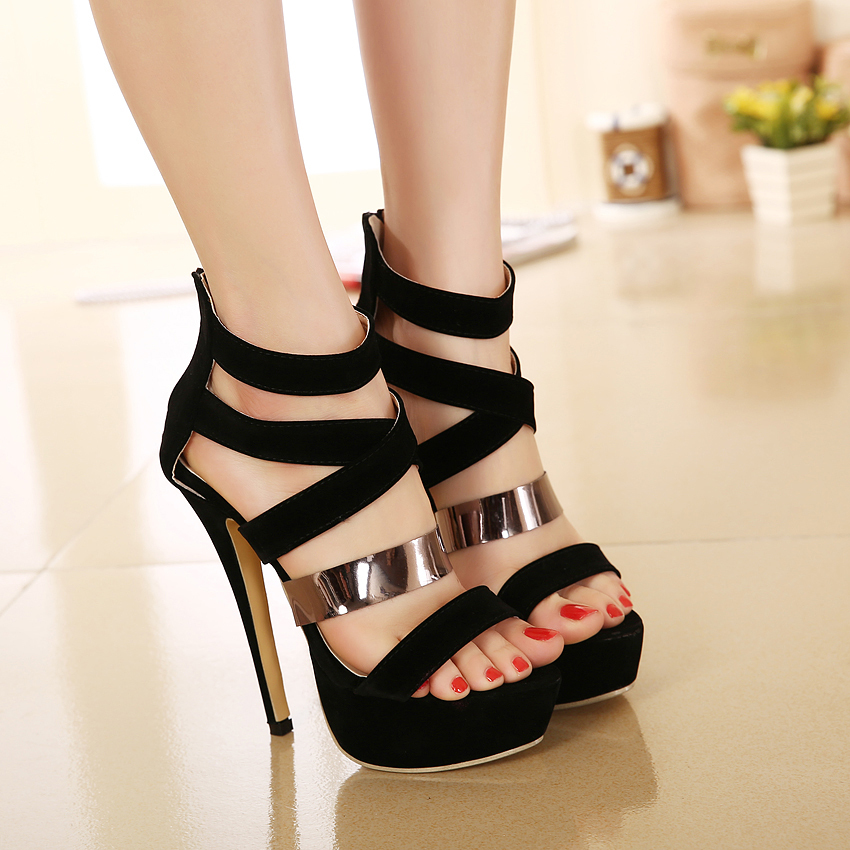 e76e0b5673f6eb Roman style women gladiator sandals black metal strap sexy high heel shoes  prom gown party size 35 to 40-in Women s Sandals from Shoes on  Aliexpress.com ...