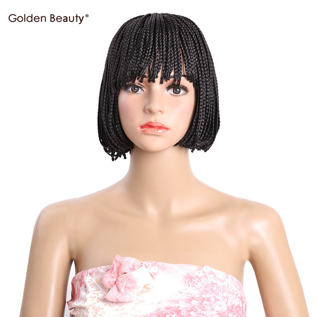 Bob Wig With Bangs Short Synthetic Hair Heat Resisitant Box Braid Wigs For Women 10