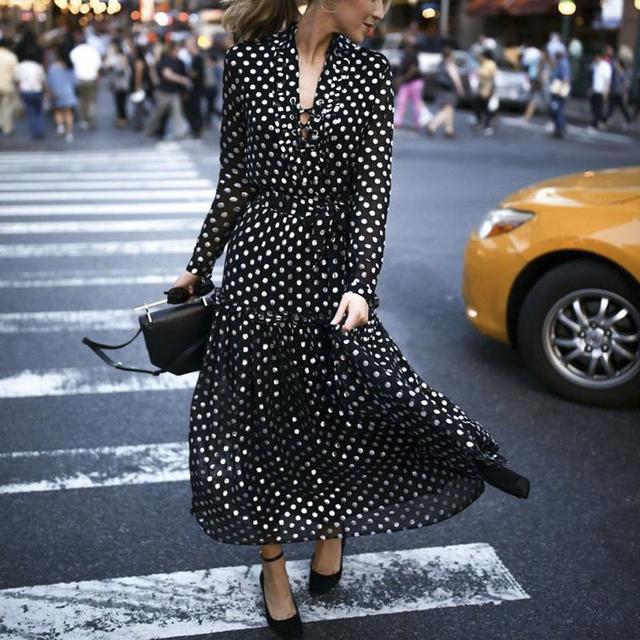 Sexy Vintage Maxi Polka Dot V-Neck Wrap Dress