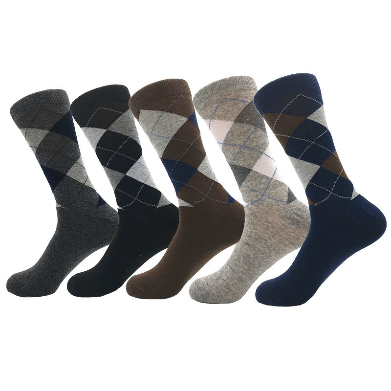 Size39-46 Men Socks Cotton High Quality Man Cotton Long  Sock For Men Casual Plaid Pattern Breathable Spring Socks