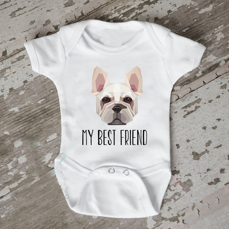 DERMSPE 0-24M Infant Newborn Baby Boy Girl Short Sleeve Letter Print Dog Is My Best Friend Cotton Romper Outfits Summer Baby image
