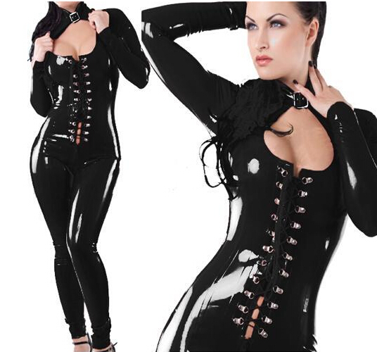 Vocole Black Wet Look Vinyl Faux Leather Sexy Catsuit Bodysuit Open Chest Lace Up Front Closure Bandage Catwoman Jumpsuit Women