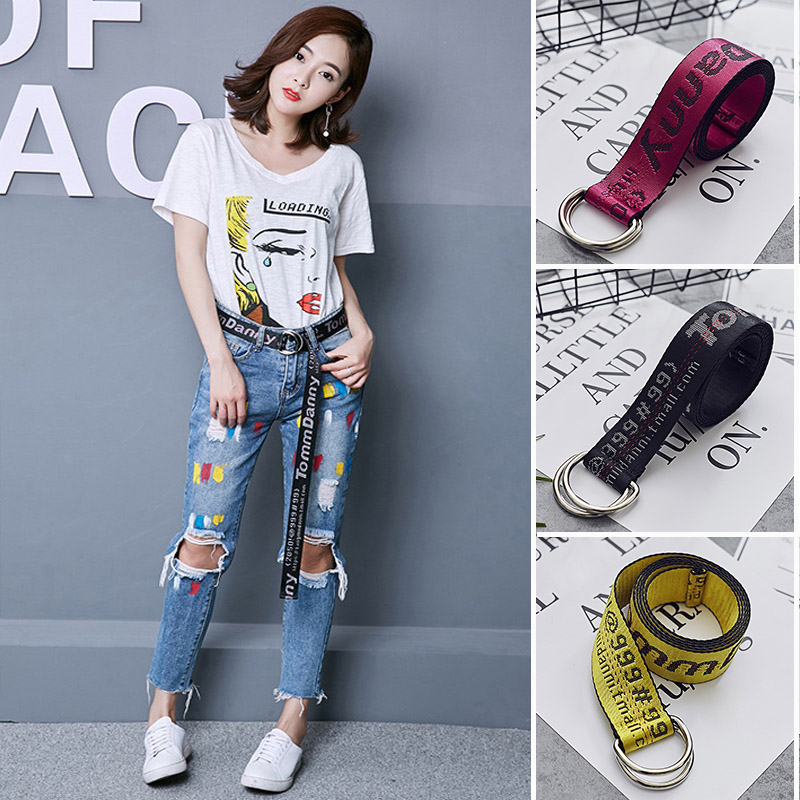 200cm Off White Street Style Canvas   Belt   Industrial Letters Tomm Danny Canvas   Belt   Women Men Punk Embroidery Waist Strap