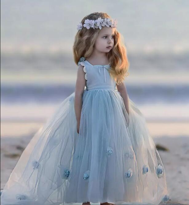 New Sky Blue Flower Girl Dresses Special Occasion For Wedding 3D Flowers Girls Pageant Gown Size 2-14Y