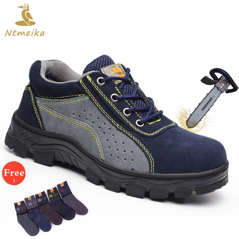 Plus Size 35-46 Mens Safety Shoes Steel Toe Cap Steel Insole Safety Boots Men Breathable Puncture-proof Work Boots For Men