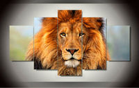 Free shipping Lion Painting on canvas room decoration print picture canvas wall art 5 pcs/set with framed jjv-982