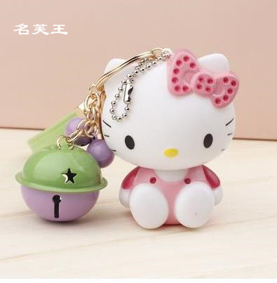 NEW DESIGN HELLO KITTY EXTREMELY CUTE KEYCHAIN WITH TINY BELLS KEYRING FOR BAG CHARMS CAR PENDANTS NOVELTY PRODUCT GREAT GIFT(China)