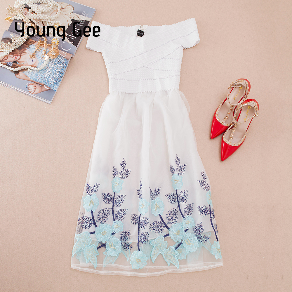 ef3d830a9a0a5 US $25.76 49% OFF|Young Gee New Summer Women Bandage Knee length Dress Sexy  Slash Neck Off Shoulder Lace Floral Embroidery Princess Party Dresses -in  ...