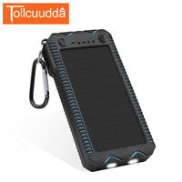 New Waterproof Solar Power Bank 12000mAh With Electric Cigarette Dual USB External Battery Powerbank Portable For