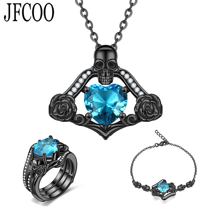 Ring-Sets Skull-Set Wedding Necklace Bracelet Jewellery Crystal Statement Retro Punk