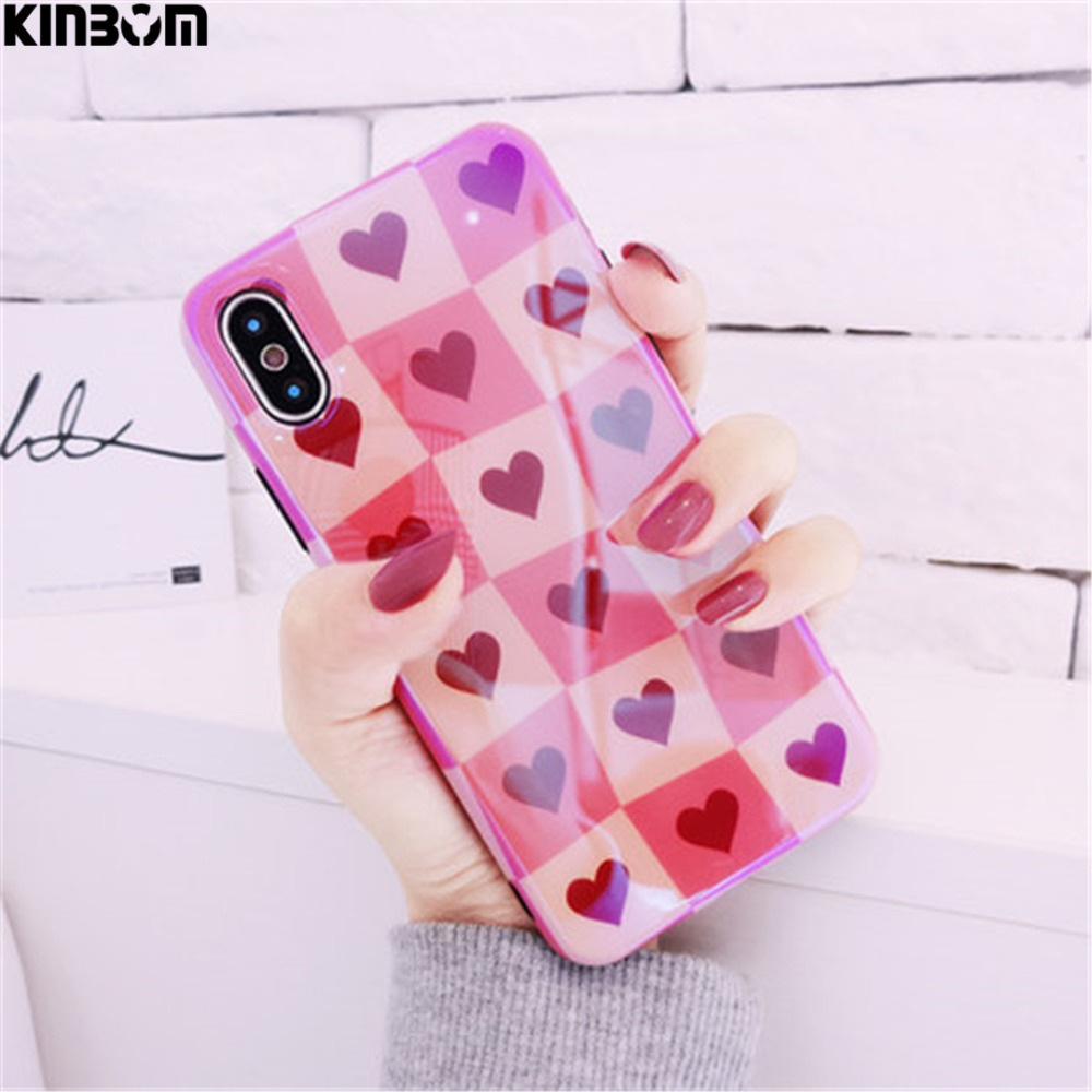 KINBOM <font><b>Blu-Ray</b></font> Love Soft Silicone For Iphone 6 6s 7 8plus Mobile Phone Housing For Iphone X 10 Half <font><b>Pack</b></font> Cover Bag Phone Case