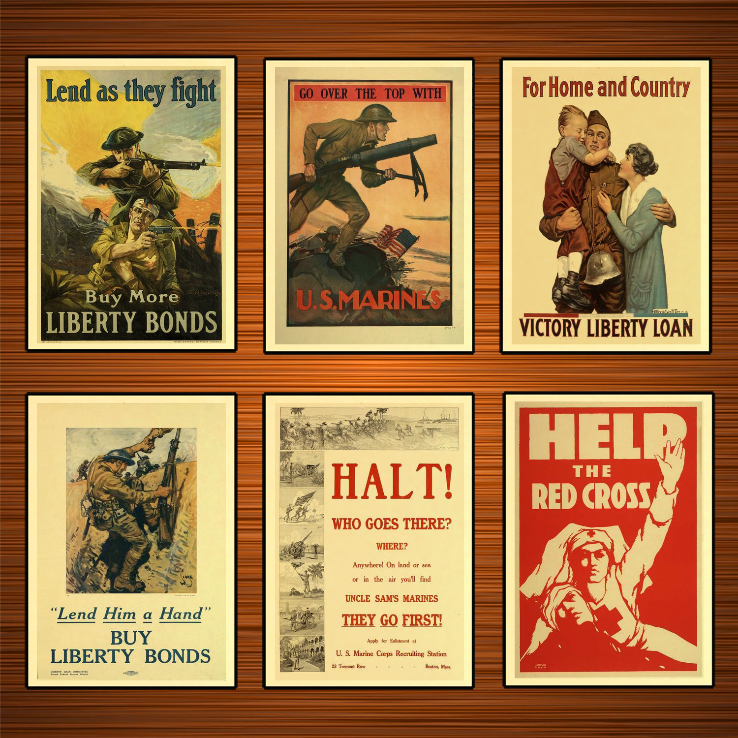 Vintage 1910s USA WW1 Propaganda Poster Lend As They Fight Classic Canvas Paintings Wall Stickers Home Decor Gift