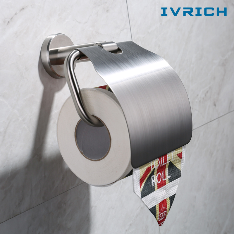 IVRICH Solid SUS304 stainless steel Roll Paper Holder Bathroom Toilet Tissue Paper Box Brushed Stainless Accessories SH2107 3d vr box virtual reality goggles h2 android 2560 1440p all in one vr glasses helmet video movie game wireless bluetooth gamepad