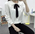 Blusas Feminina women Blouses and Tops New Fashion 2017 Bow Tie Peter-pan Collar Cute Lace Shirt Women's White Blouse Plus Size