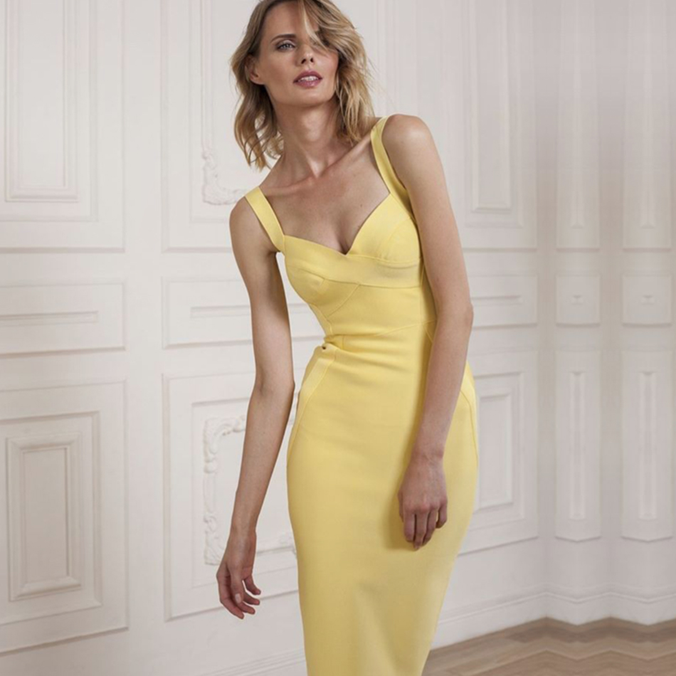 Image 4 - Adyce 2019 New Woman Bandage Dress Yellow White Red Blue NudeBackless Club Dress Sexy Celebrity Bodycon Club Party Dress Vestido-in Dresses from Women's Clothing
