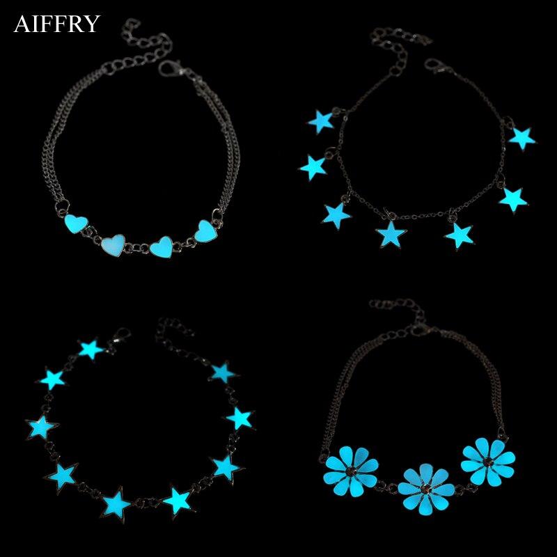 Звезда Сердце светящийся браслет Мода 2016 года Браслеты с подвесками для Для женщин светятся в темноте ювелирные изделия B2103