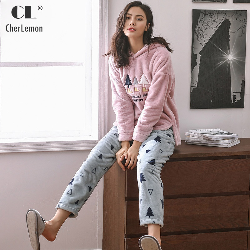 CherLemon New 2017 Women Winter Casual Hooded Fleece Pajama Sets Female Leaves Printed Thicken Flannel Warm Loungewear ...