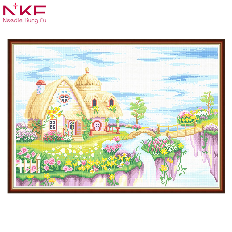 NKF Full Square Round Drill 5D DIY Diamond Painting quot Dream land place quot Embroidery Cross Stitch 3D Home Decor drills Rhinestone in Diamond Painting Cross Stitch from Home amp Garden