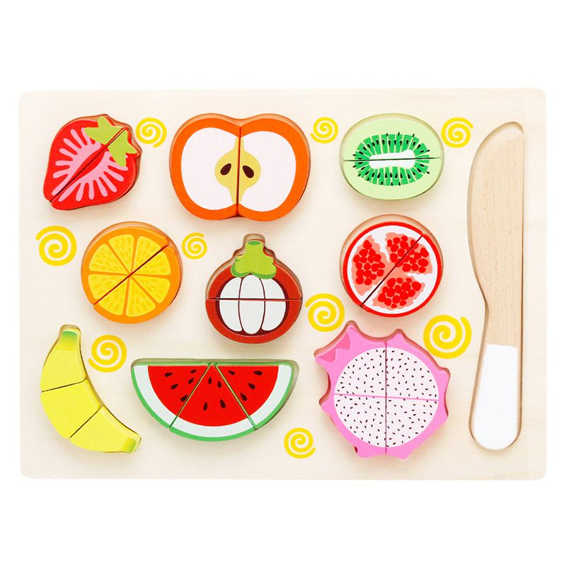 MWZ Children Pretned Play Toy Magnetic Wooden Cutting Fruit Vegetable Simulation Food Pretend Kid Educational Game Toys Gift,