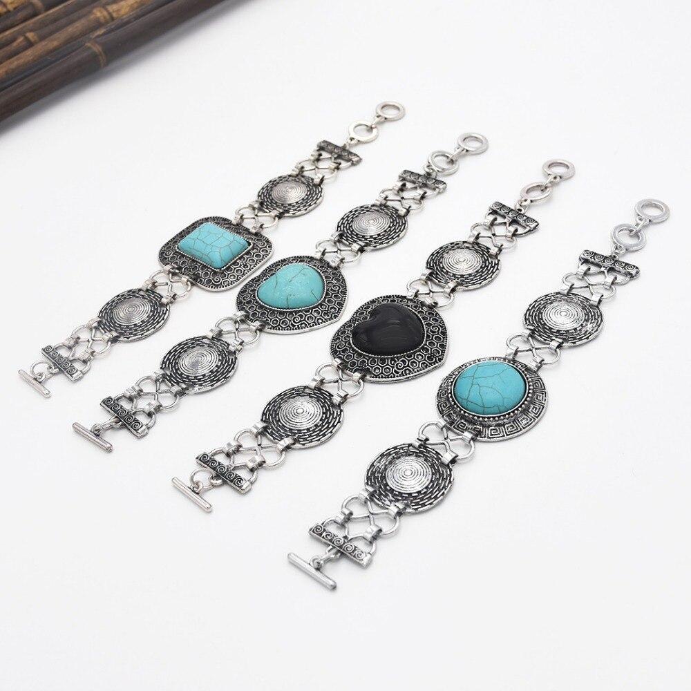 Böhmen Mode Türkisen Verkrustete Armband Manschette Armreif Charme für Frauen Geschenk Blau Schwarz Stein Geometrische Armbänder Vintage Tibet Schmuck