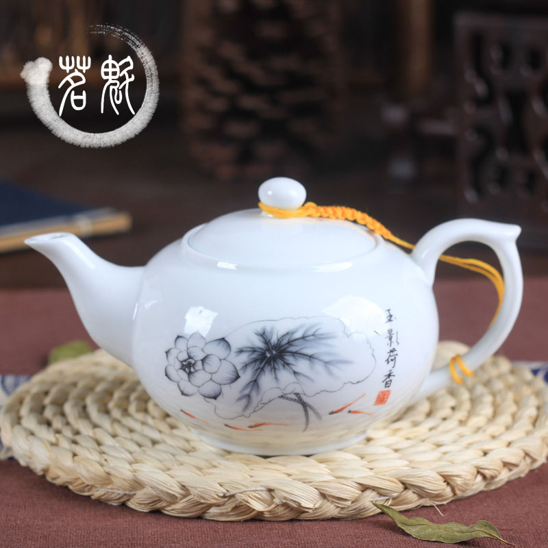 Teapot Blue and White Porcelain Kungfu Tea Set Large Pot Household  Filtration Flower Making