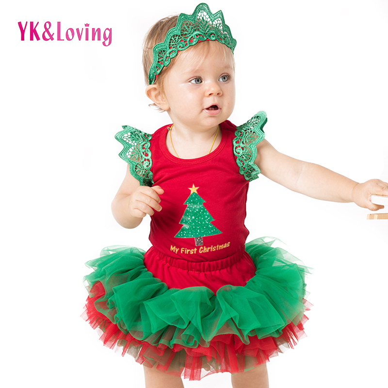 New Baby Girl Clothing Sets Christmas Red Rompers tutu short skirts 4 layer 2018 Newborn/infant Xmas Party Outfits Costumes hot pink tutu first birthday party outfits baby born clothing sets baby girl baptism clothes glitter bebes infant sets suits