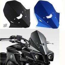 Blue /Black Aluminum Upper Headlight Windshield Windscreen For 2016 2017 2018 2019 Yamaha FZ MT 10   Wind deflector smok motorcycle carbon fiber windscreen wind deflector windshield panel cover for yamaha mt10 mt 10 mt 10 2016 2017 2018