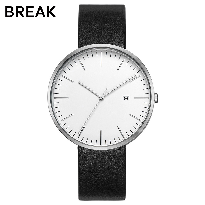 BREAK Minimalism Top Luxury Brand Black Leather Strap Fashion Causal Dress Business Quartz Wristwatches Gift Watch for Men Women