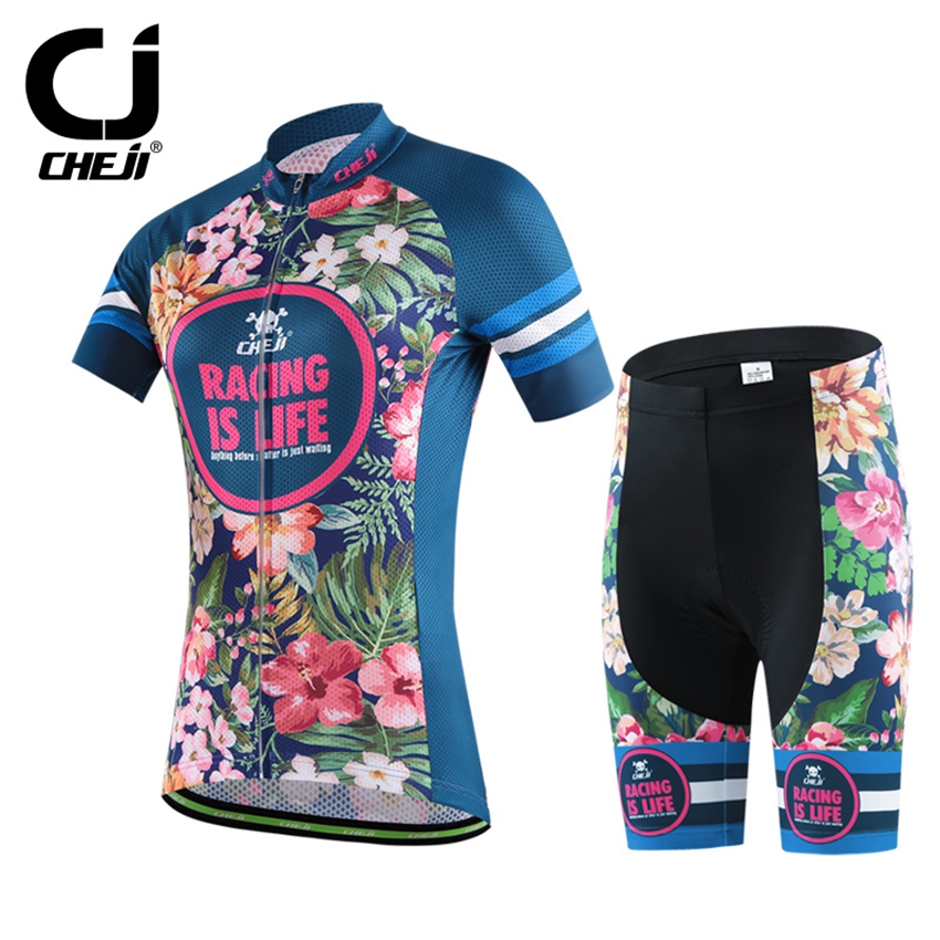 CHEJI Women's Cycling Jersey Sets Quick-dry Bicycle roupa mtb Outdoor Sportswear Cycling Clothing Bike Short Sleeve Clothing cheji women mtb cycling jersey sets bike outdoor sportswear maillot clothing quick dry cycling clothing long sleeve jersey
