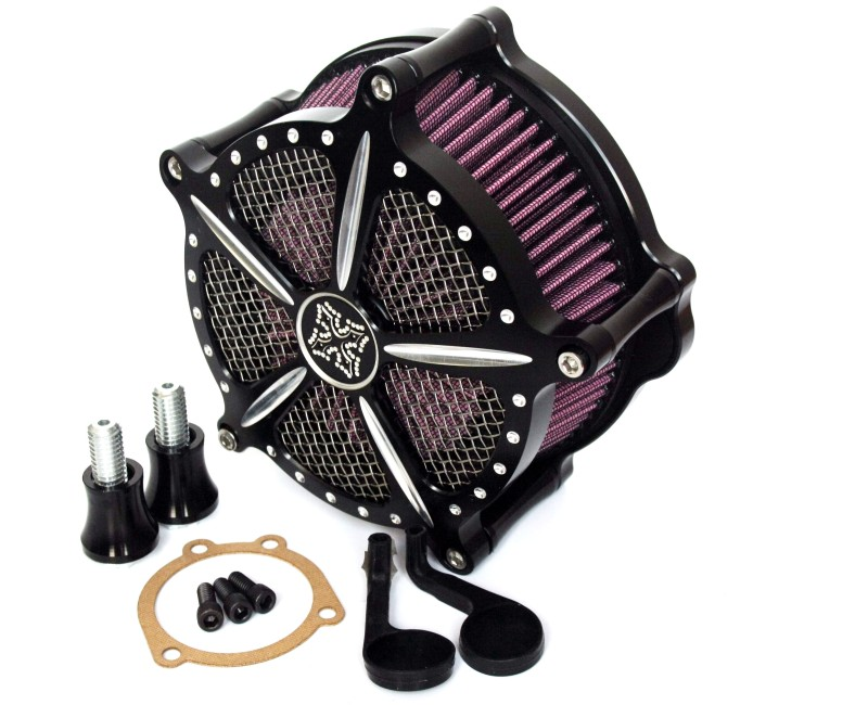 CNC Cross Air Cleaner Filter Kit For Harley Sportster XL 883 1200 1991-2014 black cnc cut air cleaner trim cover for harley iron 883 sportster xl883r xl1200
