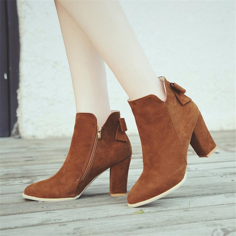 Large Size 34-43 2018 Autumn Women Single boots High-heeled Shoes Bow Pointed Sexy Women ankle boots Wedge Boots for Girls S-57