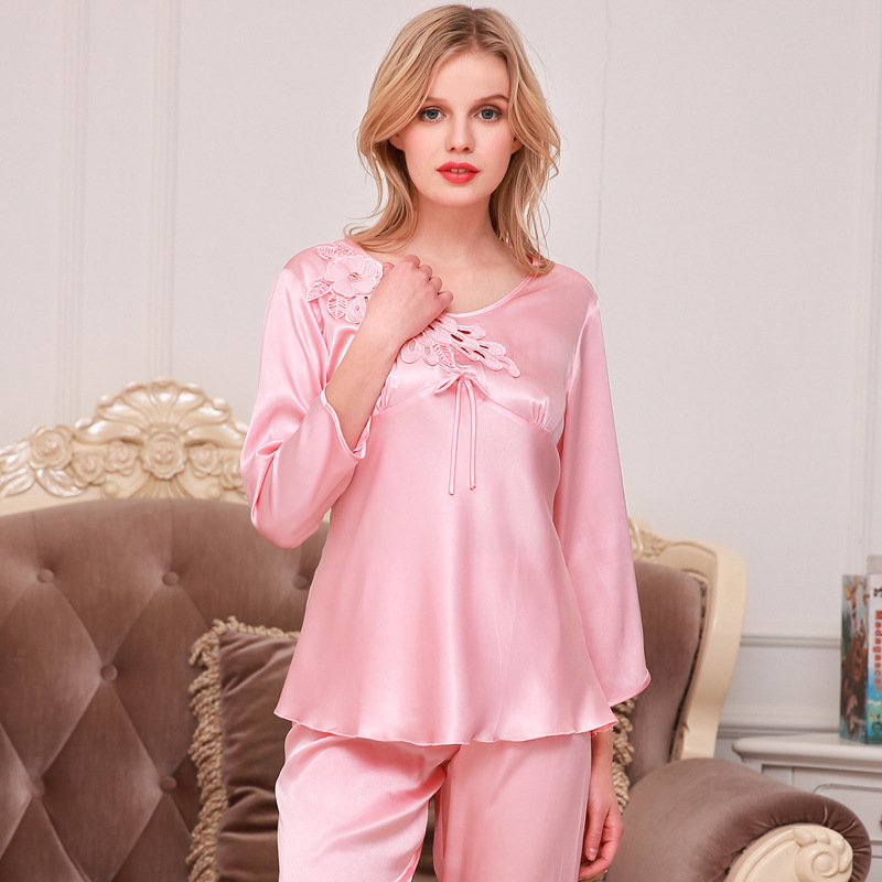 Luxury womens pajamas women sexy three quarter sleeve with pants ice silk pajama twinset summer lace women's home clothes