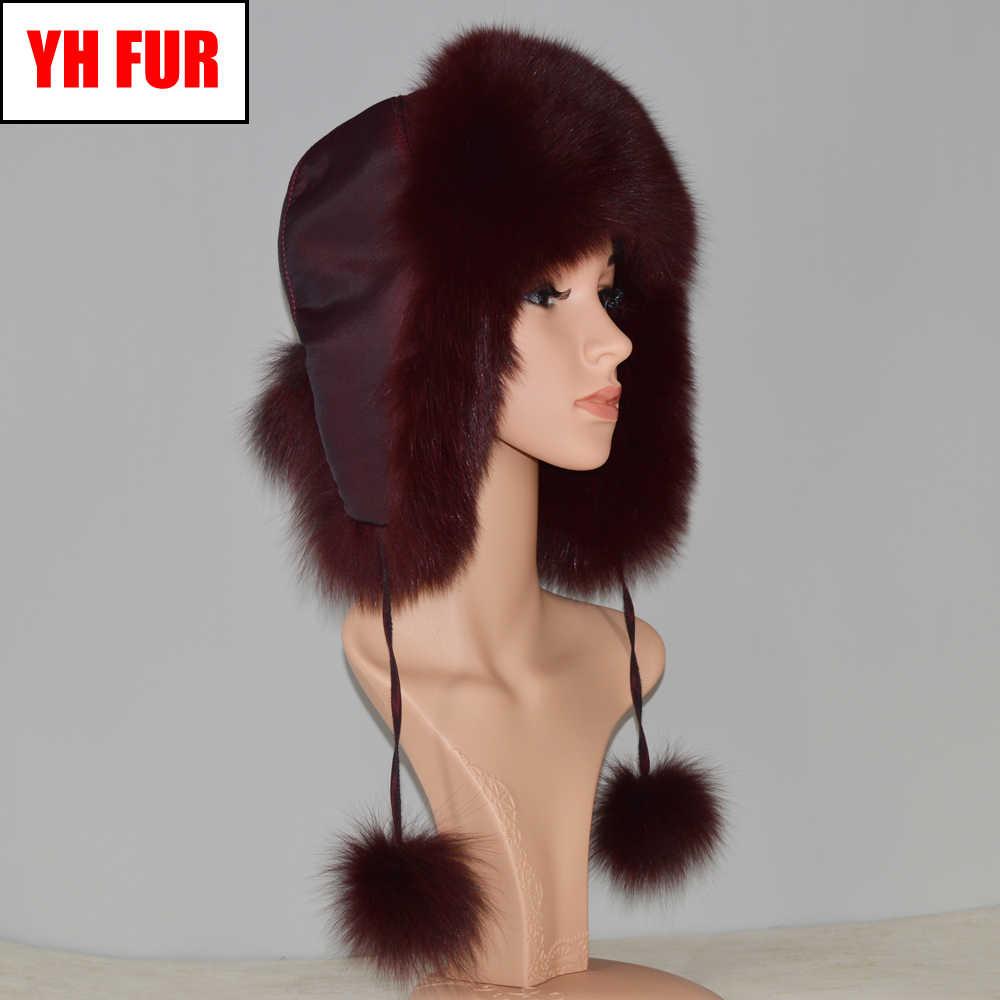 Natural Fox Fur Bomber Chapéus de Inverno Mulheres Quentes Macios Genuine Fox Fur Earflap Caps Qualidade Luxo Senhora Russa Verdadeira Raposa chapéu de pele