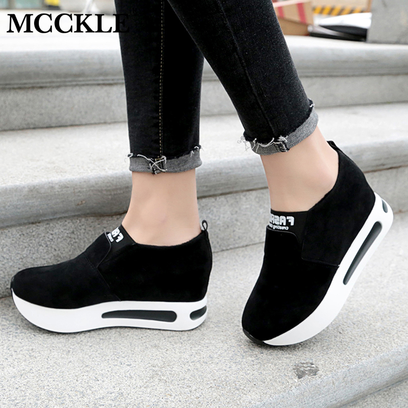 MCCKLE 2018 Spring Elastic Band Women Flat Platform Shoes Female Casual Breathable creepers Shoe Woman Slimming Flats Footwear phyanic 2017 gladiator sandals gold silver shoes woman summer platform wedges glitters creepers casual women shoes phy3323