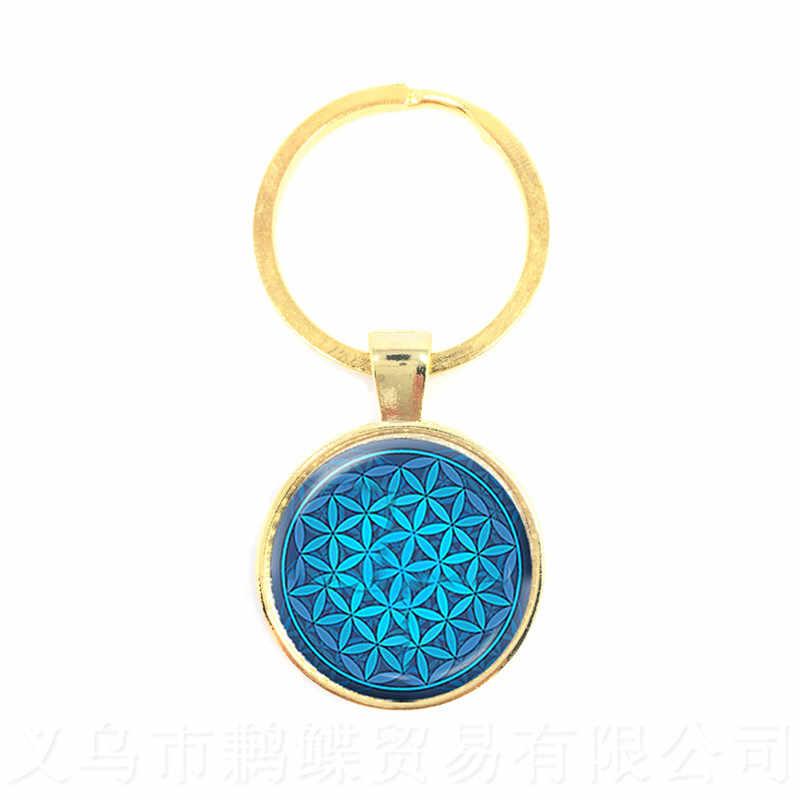 Chaveiros Jóias indiano Mandala OM Yoga Para Mulheres Dos Homens Elevador De Meditação Zen Budista Jóias Chaveiro Pingente Presente Da Flor
