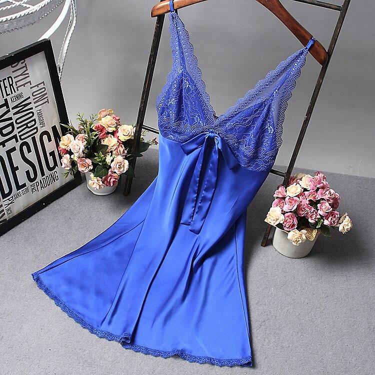 Женский пикантный Шелковый Атласный ночной халат ночная рубашка без рукавов Кружевное платье для сна Ночные сорочки с острым вырезом Ночная рубашка модная пижама ночное белье