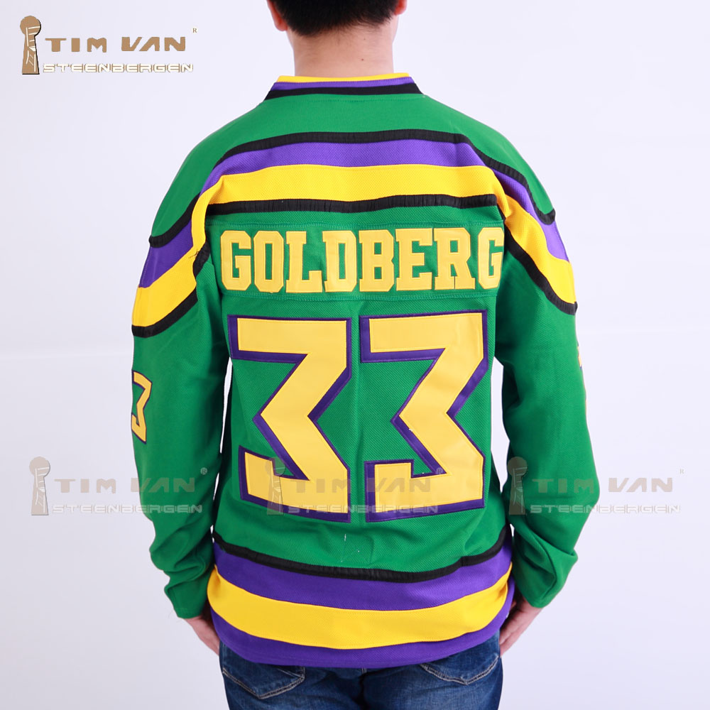 TIM VAN STEENBERGE  Ducks Movie Jersey  #33 Greg Goldberg Ice Hockey Jersey Stitched All Sewn-Green greg pak fred van lente reilly brown incredible hercules