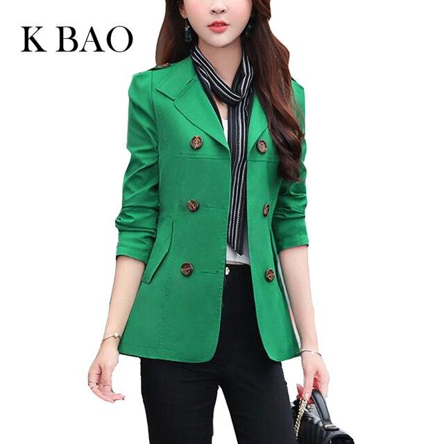 2016 Осень-Весна Женщины Моды Тонкий Пальто Плюс Размер M-3XL Корейский Стиль Карманы Двубортный Дизайн Тонкий Леди Траншеи
