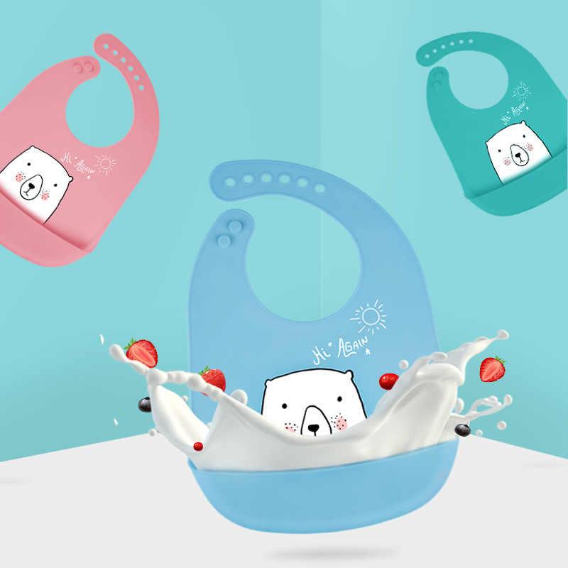 עמיד למים סיליקון האכלת תינוק ליקוק יילוד קריקטורה סינר ילדים מתכוונן לפעוטות גיהוק מטליות חמוד בעלי החיים ארוחות כיס סינר
