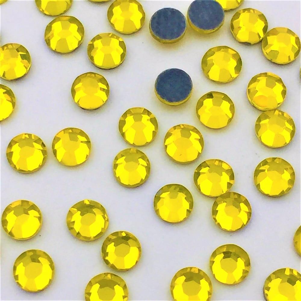 DIY New Hot Sale Appliques SS10 1440pcs pack lemon yellow Flatback Crystal  Hotfix iron on clothes glitter Rhinestones deco 90b4e1b7ea42